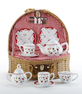 Basket w/ Cherry Porcelain Tea Set