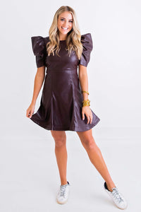 Wine Pleather Puff Slv Dress