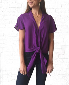 Purple Button Down Tie Top