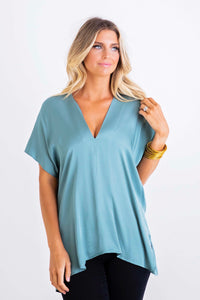 Solid Blue Vneck Signature Top