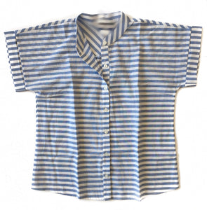 GD-Blue/White Stripe S/S Button Top