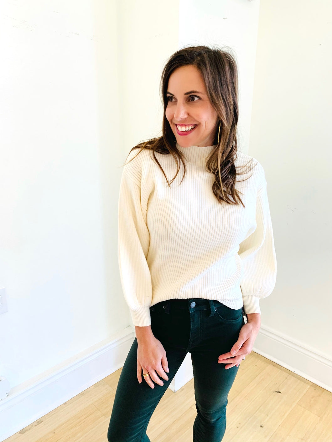 Ivory Mock Neck Bubble Slv Sweater