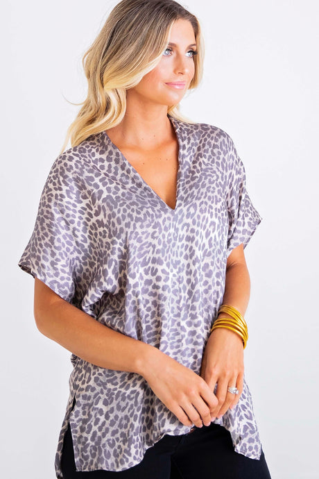 Leopard Vneck Signature Top