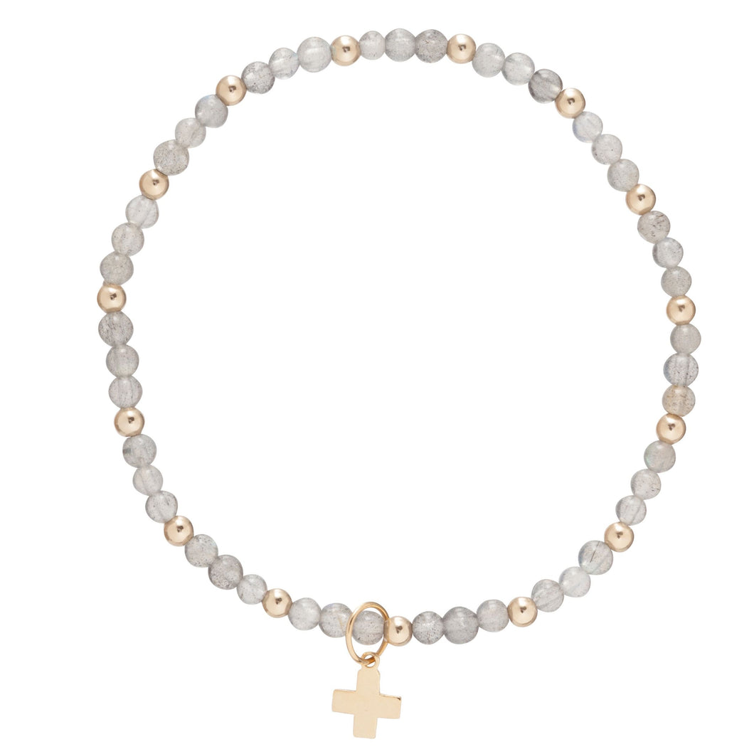 Sincerity Pattern 3mm Bead Bracelet w/ Cross Charm