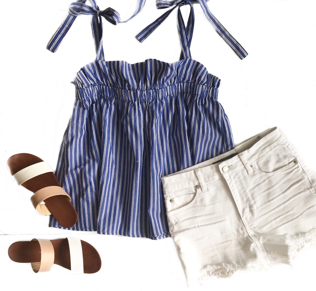 Navy/White Stripe Ruffle Neck Tie Tank