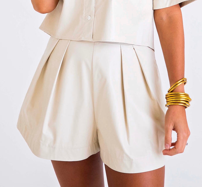 Cream Pleather Short