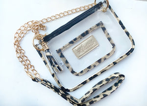 Clear Leopard Pouch Crossbody
