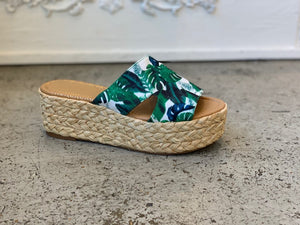 Green Slide Mule Wedge Sandal
