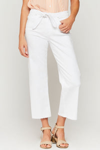 White Midrise Wide Leg Crop