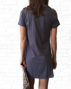 GD S/S Blue Vneck Knot Dress