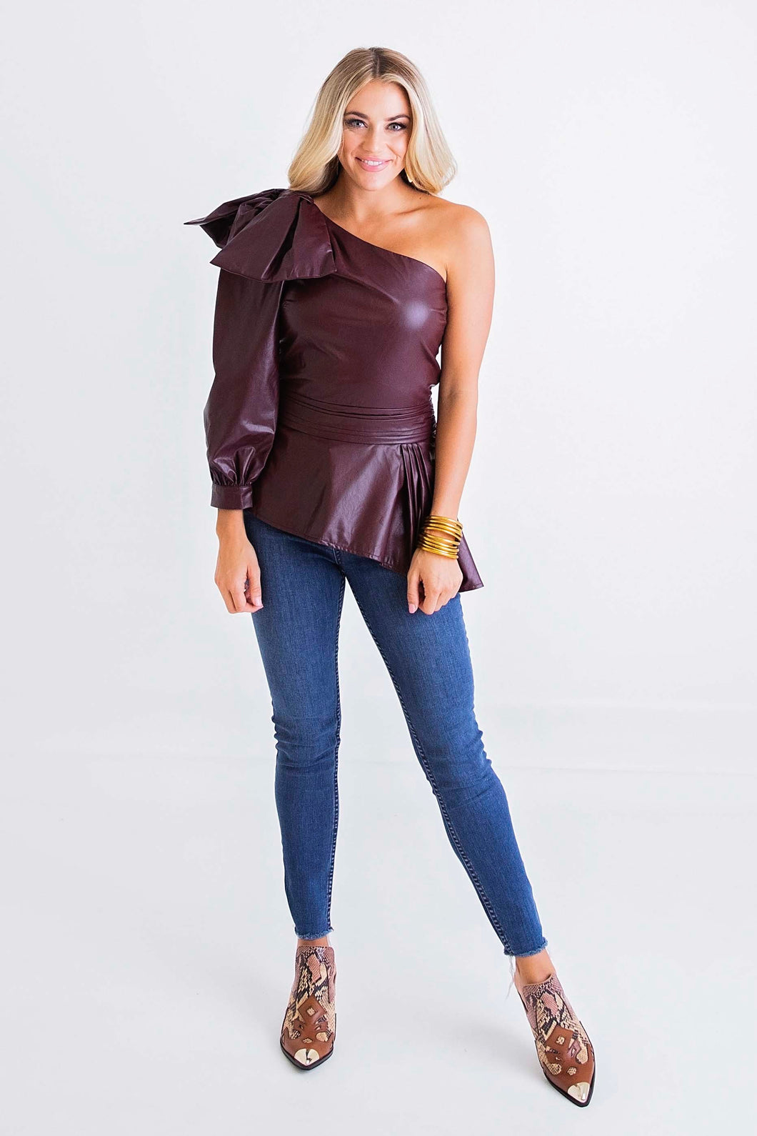 Burgundy Pleather One Shldr Top