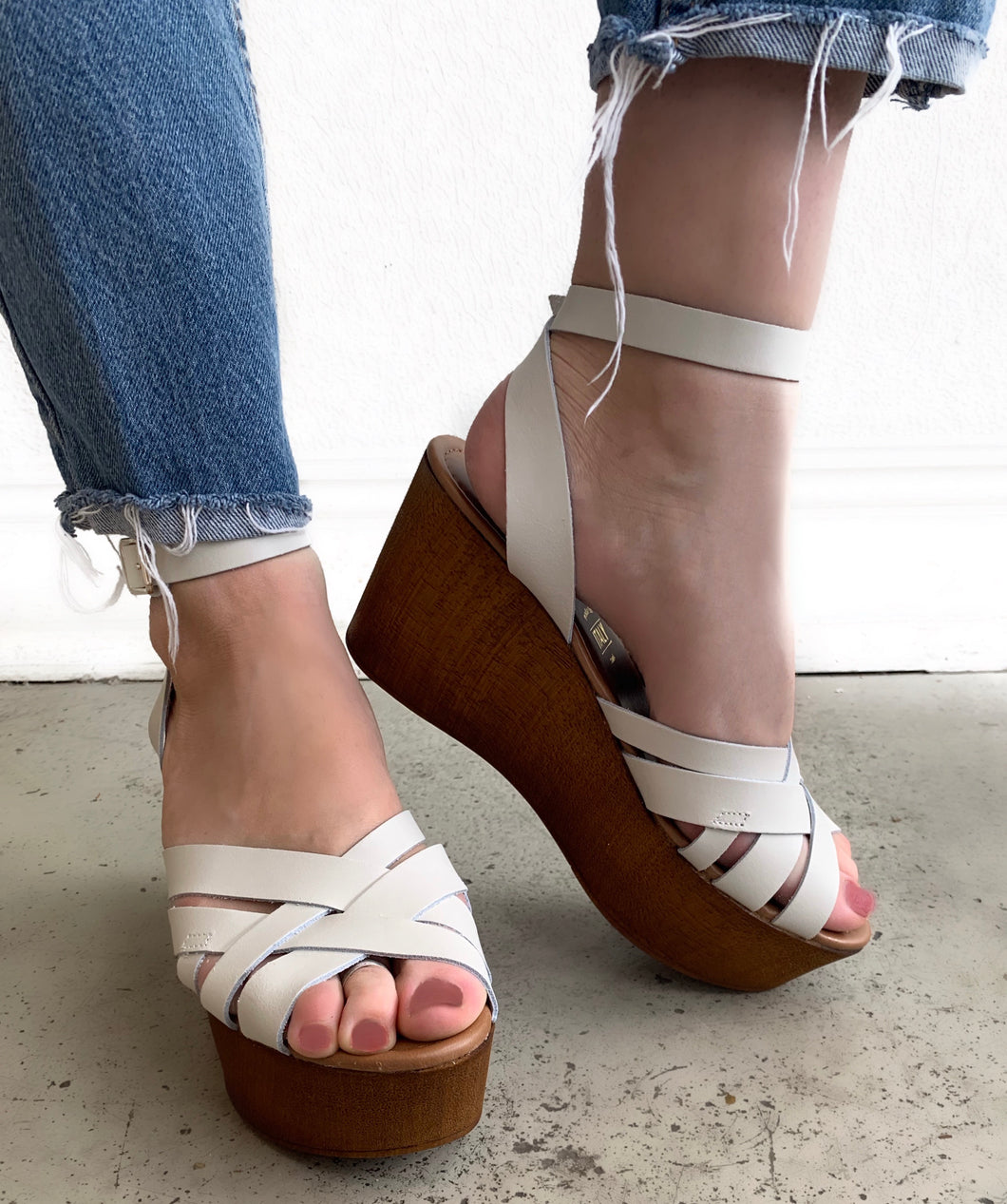 White Leather Platform Sandal