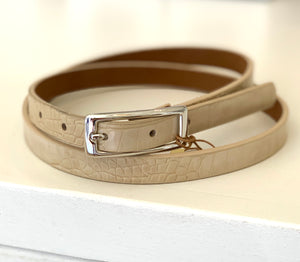 Cream Skinny Croc Belt