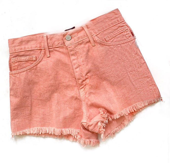 Peach Blue Hi Waist Fray Shorts