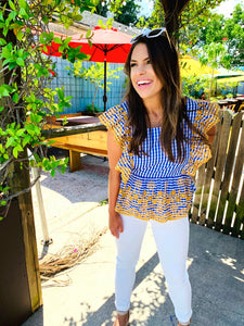 Blue Gingham Flutter Top