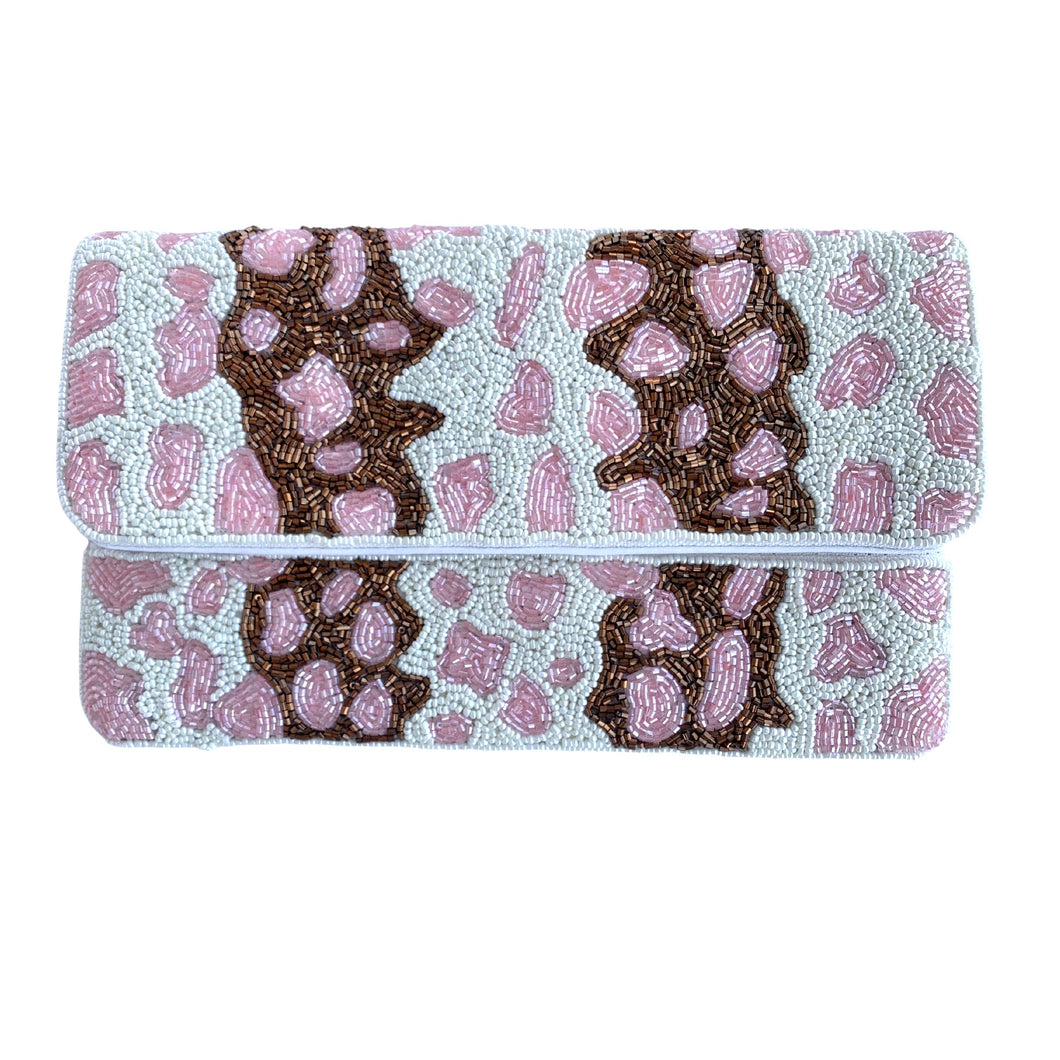 Pink Leopard Beaded Clutch
