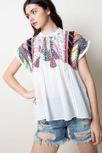 Patchwork Top w/ Tassels