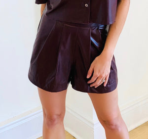 Wine Pleather Short