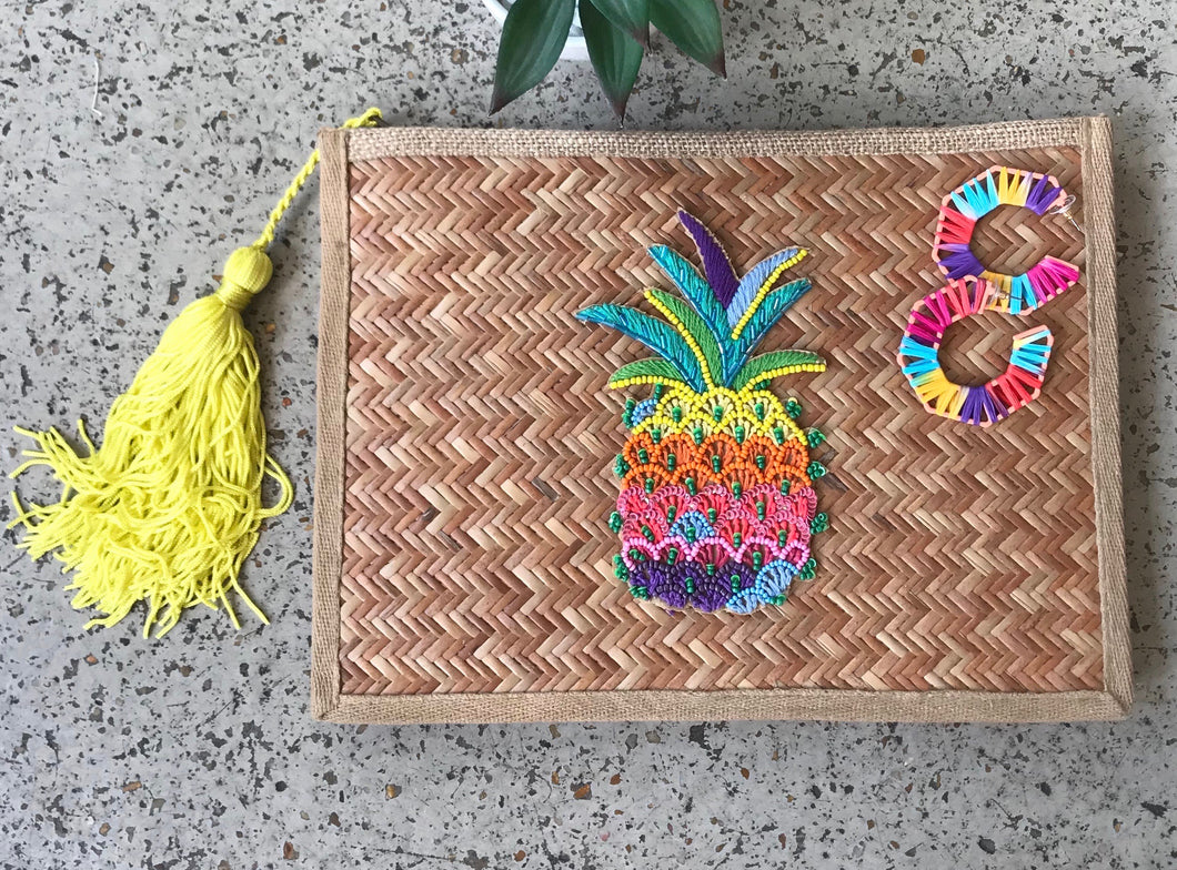 Pineapple Raffia Clutch
