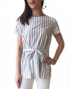 GD- White + Blue Striped Tunic w/ Tie Waist