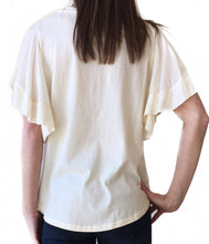 GD-Cream Ruffle Slv Top