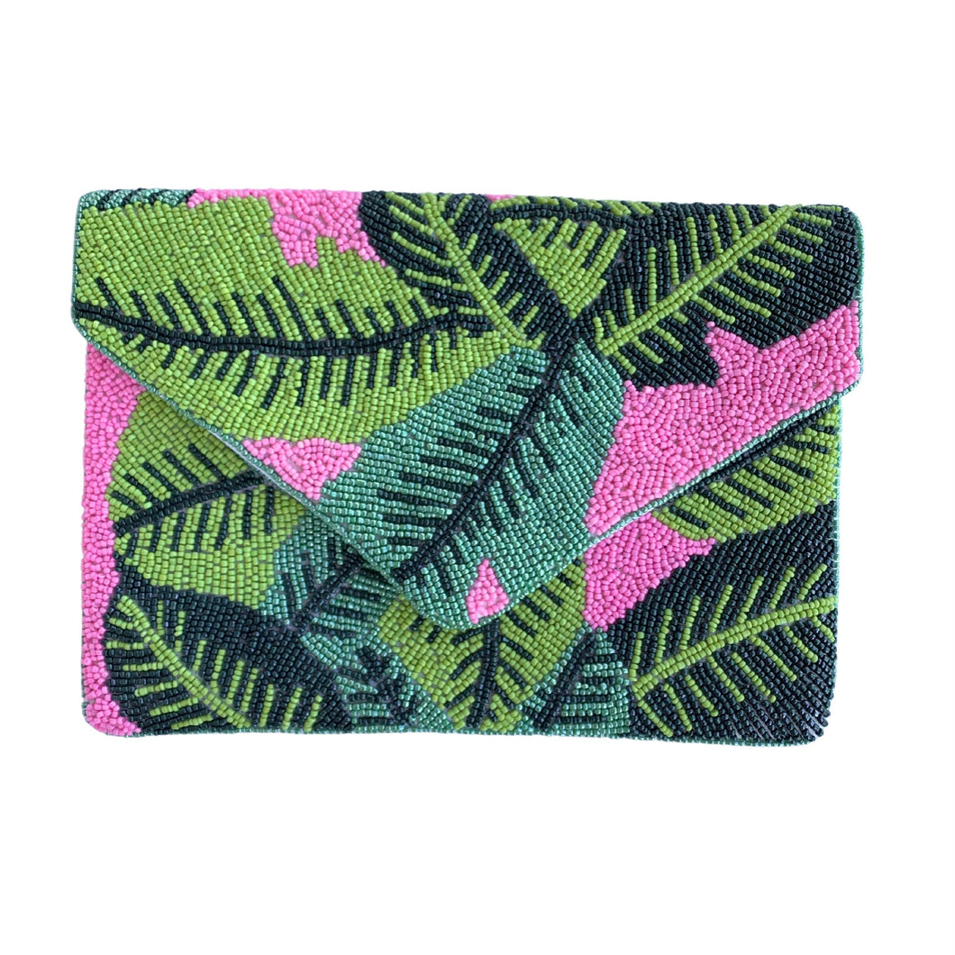 Pink/Green Palm Leaf Beaded Clutch