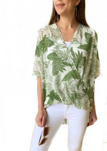 Off Wht/Green Surplice Top