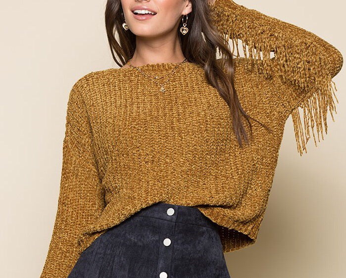 Mustard Fringe Sleeve Sweater