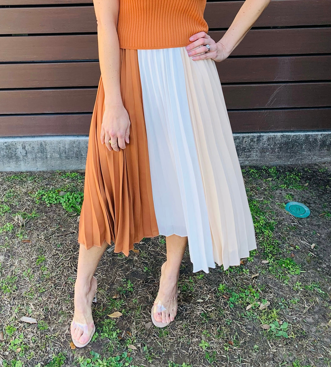Pleated Color Block Midi Skirt