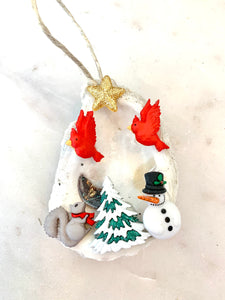 Winter forest oyster ornament