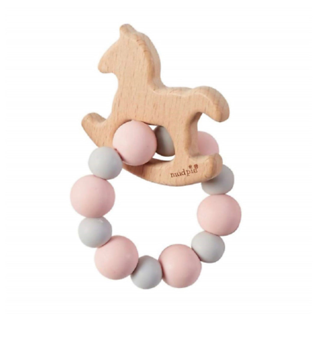 Pink Rocking Horse Wood Teether