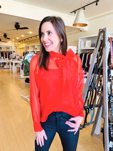 Red Organza Tie Neck Blouse