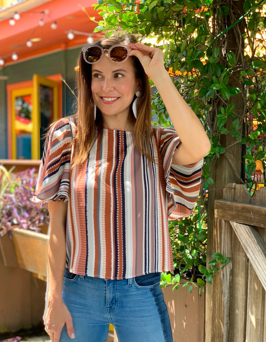Stripe Flutter Slv Top