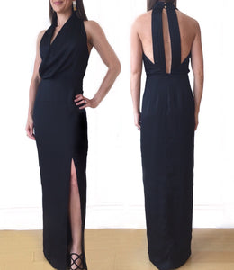 GD Halter Black Side Slit Dress
