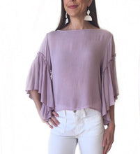 MR-Orchid 3/4 Ruffle Slv Top