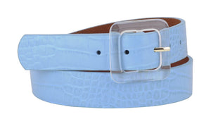 Blue Lucia Croco Leather Belt