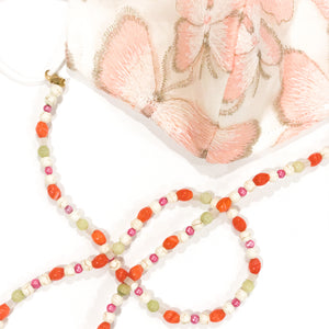 Orange Camelian/Pink Butter Jade Beaded Mask Chain