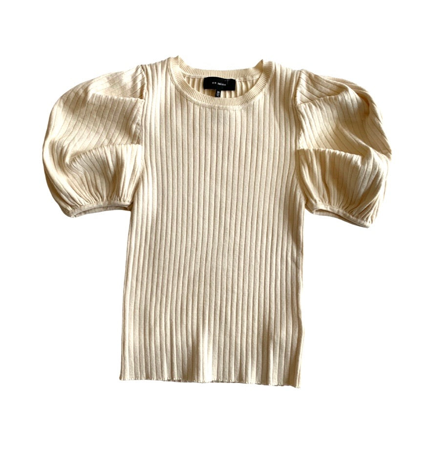 Ivory Ribbed Puff Slv Top