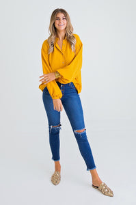 Mustard Dolman Slv Button Top