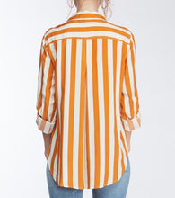 Amber/Wht Stripe Collar Top