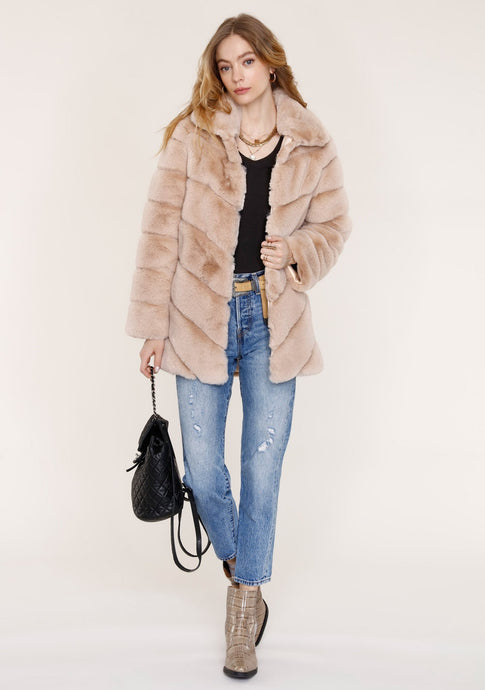Taupe Chevron Faux Fur Jacket