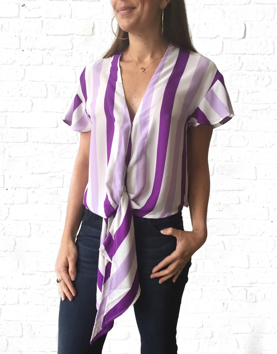 Purple Stripe Tie Top