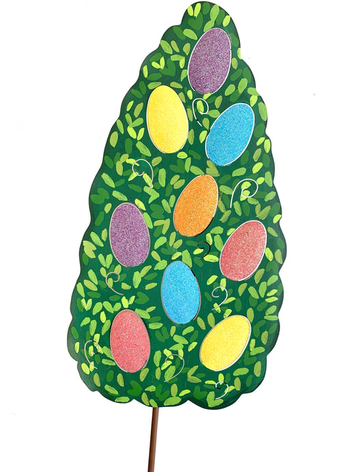 Glitter Egg Boxwood Topiary Door Hanger/Stake