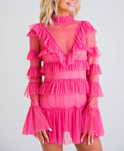 Rose L/S Tulle Ruffle Dress
