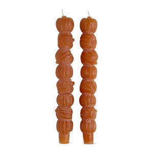 Pumpkin Stack Taper Candles S/2