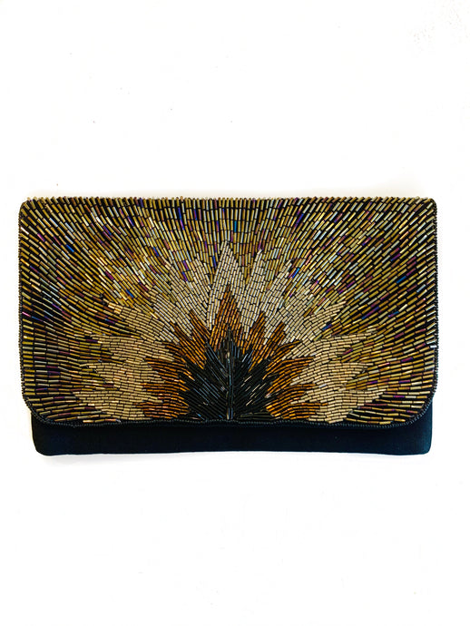 Black/Gld Starburst Beaded Clutch