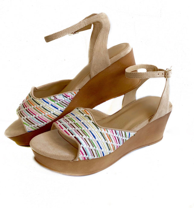 Charlise Multi Raffia Wedge