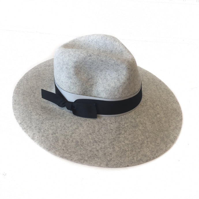 LT. Heather Grey Wide Brim Fedora