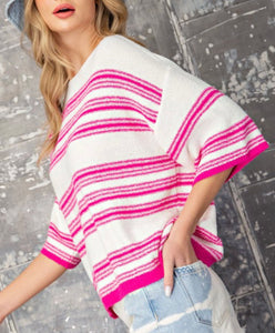 Pink Stripe Knit Top