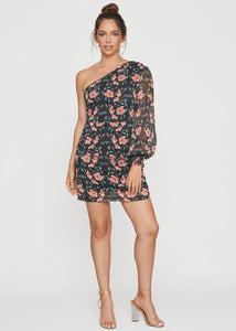 Black Floral One Shldr Mini Dress